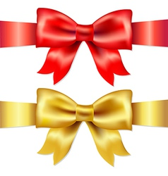 Red and gold gift satin bow vector