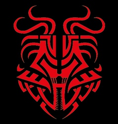 Dragon mask tribal fiery dragon symbol vector
