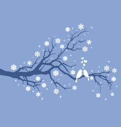 Christmas birds on winter tree vector