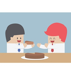 Businessman give a piece of cake to another marke vector