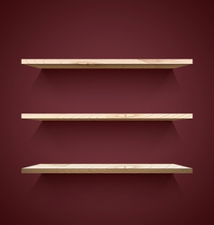 Empty wooden shelves vector