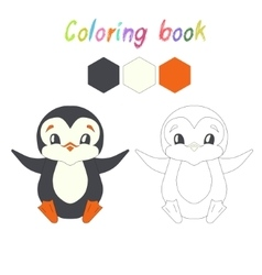 Coloring book penguin kids layout for game vector