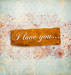 Retro i love you banner vector
