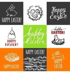 Template design cards with nest and Easter eggs vector image