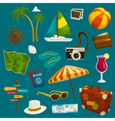 Travel object set cartoon  summer vacation luggage vector