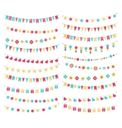 Set of birthday buntings and garlands vector