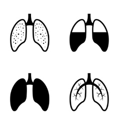 Black human lung icons set vector