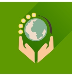 Flat icon with long shadow Earth hands vector image