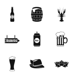 Beer fest icons set simple style vector