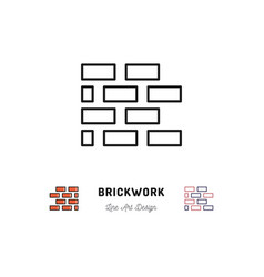 brickwork icon building sign brick laying thin vector image