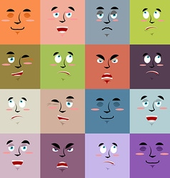 Cartoon faces emoji seamless pattern Set texture vector image