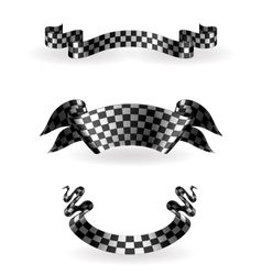 Checkered ribbons set vector image