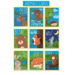 collection of cards with cute forest animals vector image vector image