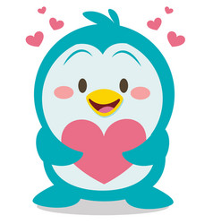 collection of penguin with heart vector image