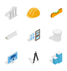 Construction and engineer icons isometric 3d style vector