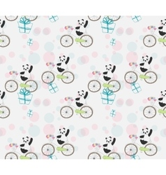 Cute baby panda on bike vector
