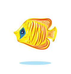 Cute cartoon yellow fish character hand drawn vector