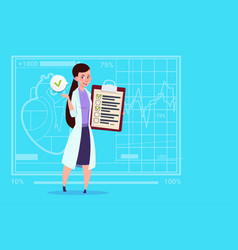 Female doctor holding clipboard with analysis vector