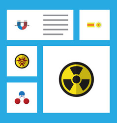 flat icon study set of nuclear irradiation vector image vector image