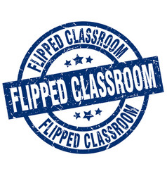 Flipped classroom blue round grunge stamp vector