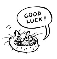 Good luck cartoon cat head vector