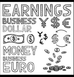 hand draw finance and money doodle sketch business vector image