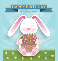 Happy birthday background with cute white bunny vector