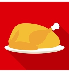 Hot turkey for christmas or thanksgiving day vector