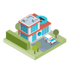 Isometric hospital building icon vector