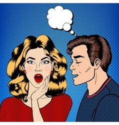 Man whispering secret to his girlfriend pop art vector