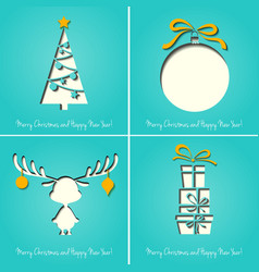 Merry Christmas Paper greeting card vector image vector image