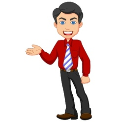 Office worker cartoon presenting vector image