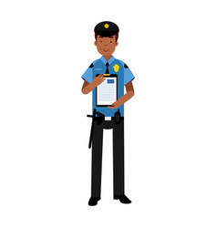 policeman character in a blue uniform holding vector image vector image