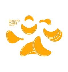 Potato chips Icon set vector image vector image