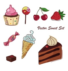 set of sweets drawing vector image vector image