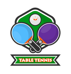 Table tennis colorful logotype with crossed vector