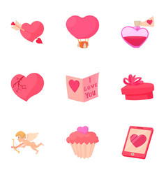 valentine day equipment icons set cartoon style vector image vector image