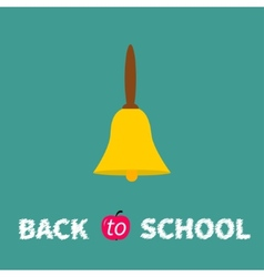 Yellow bell with handle Back to school chalk text vector image