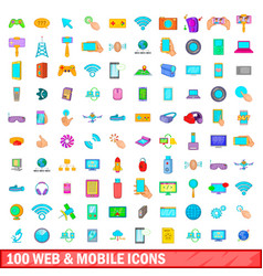 100 web and mobile icons set cartoon style vector image vector image