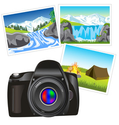 Photo camera and picture vector