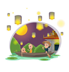 monk river oarsman night culture vector image
