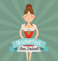 woman cartoon oktoberfest desig vector image