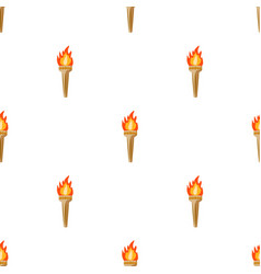 olympic torch icon in cartoon style isolated on vector image