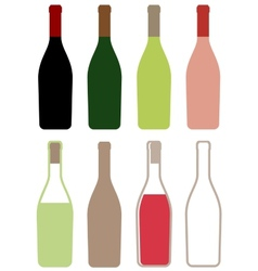 Wine bottles icons vector