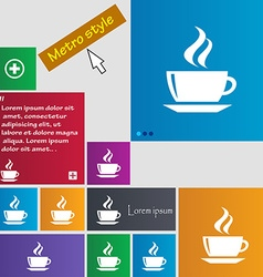 Tea coffee icon sign buttons modern interface vector