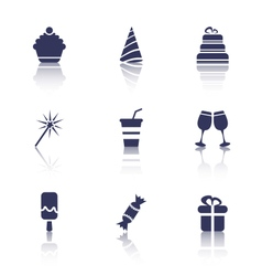 Party icons of holiday and birthday objects vector