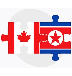 Canada and korea-north flags vector