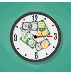 Office clock and money vector