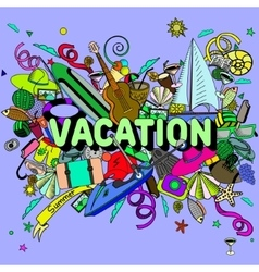 Vacation line art design vector