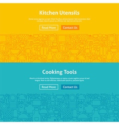 Kitchen and cooking line art web banners set vector